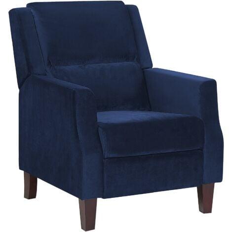 Velvet Recliner Chair Navy Blue EGERSUND
