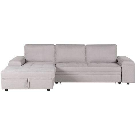 Right Hand Corner Sectional Sofa Pull-Out Sleeper and Storage Light Grey Kiruna II
