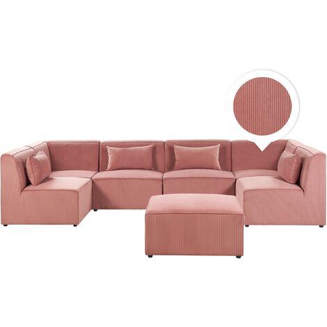 Modern Corduroy 6 Seater U-Shaped Modular Sofa with Ottoman Pink Lemvig