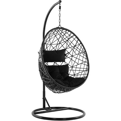 Wicker Hanging Egg Chair with Stand Swing Seat Black PE Rattan Alatri