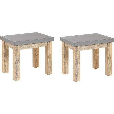 Set of 2 Outdoor Garden Stools Grey Fibre Cement Seat Light Acacia Wood Base Ostuni