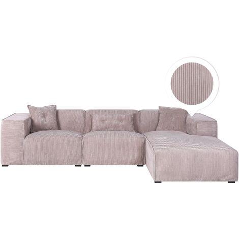Modern Fabric Corner Sofa Corduroy Extra Scatter Cushions Taupe Dolva