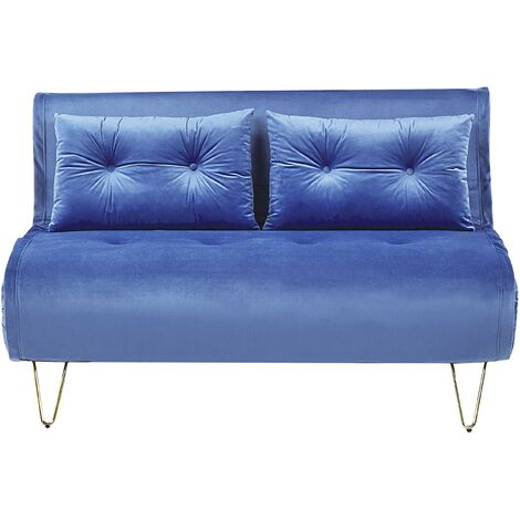Glam 2 Seater Velvet Sofa Bed Double With Cushions Navy Blue Vestfold