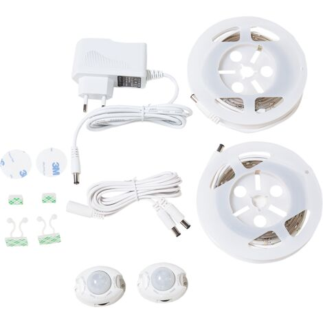 Set of 2 LED Stripes Lighting Adjustable Colour Motion Sensor Remote Control 120 cm