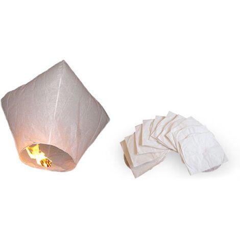 Set of 10 Chinese Sky Lanterns White Rice Paper Wedding Outdoor Patio Garden