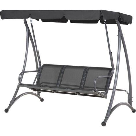 Modern Outdoor Swing Black Mesh Seat Polyester Canopy Steel Frame Bogart