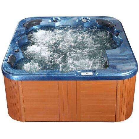 Outdoor Spa Hot Tub Blue Plastic Wood Hydro Massage Sanremo