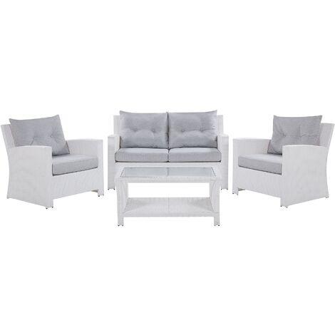 Modern Outdoor Garden Conversation Sofa Set White Faux Rattan San Marino