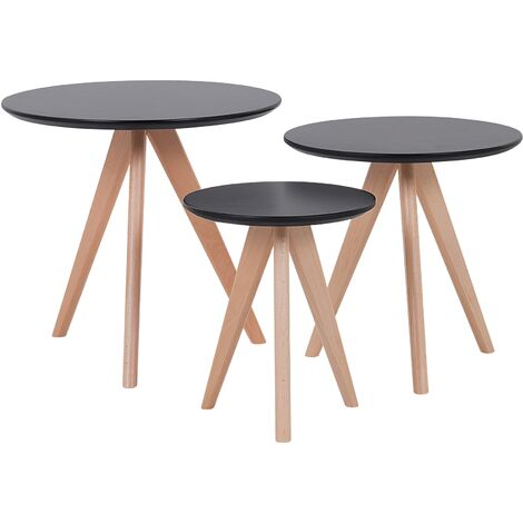Modern 3 Piece Set Coffee Table Black Tabletop Beech Wood Legs Vegas