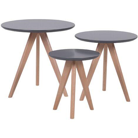 Modern 3 Piece Set Coffee Table Grey Beech Wood Legs Round Tabletop Vegas