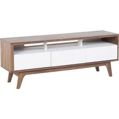 Modern TV Stand Unit Dark Wood Frame White Drawers Storage Sideboard Syracuse