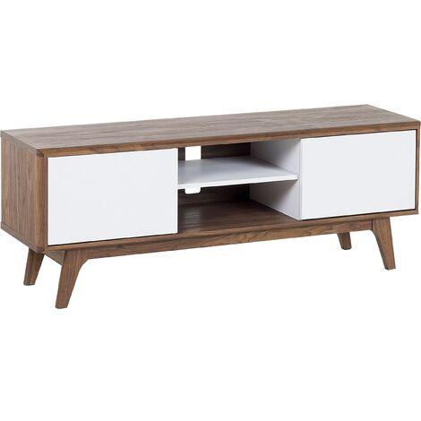 Modern TV Stand Unit Dark Wood Frame White Shelf Drawers Storage Rochester