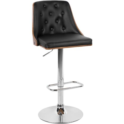 Faux Leather Swivel Bar Stool Black VANCOUVER