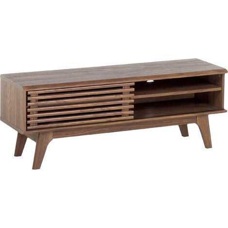 Modern TV Stand Unit Dark Wood Slide Front Storage Shelf Sideboard Toledo