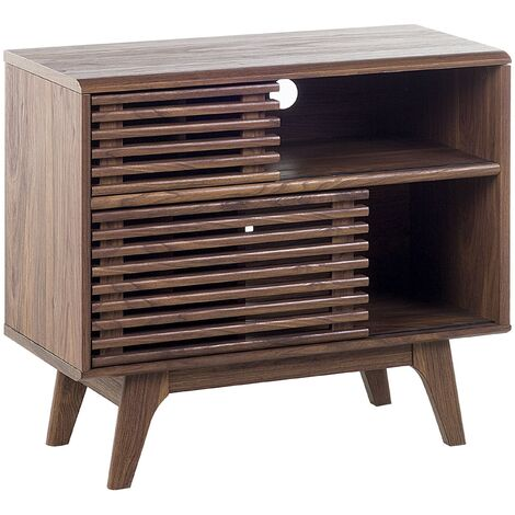 Side Table Dark Wood Shelves Cabinets Storage End Table TV Stand Cleveland
