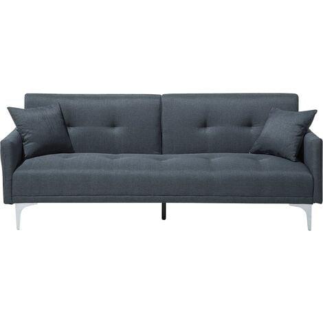 Modern Tufted Fabric Sofa Bed 3 Seater Dark Blue Polyester Chromed Legs Lucan