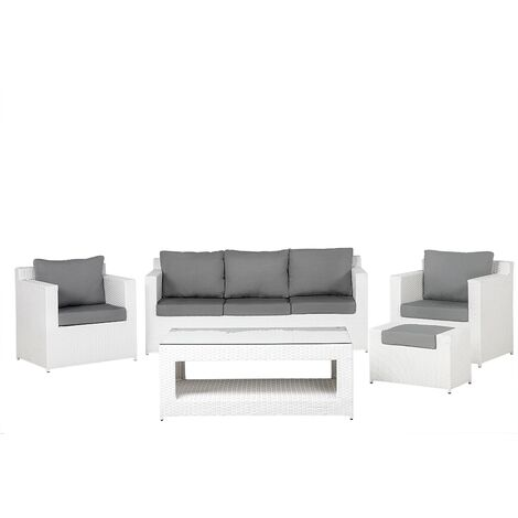 Modern Faux Rattan Outdoor Garden 5 Piece Conversation Sofa Set White Roma