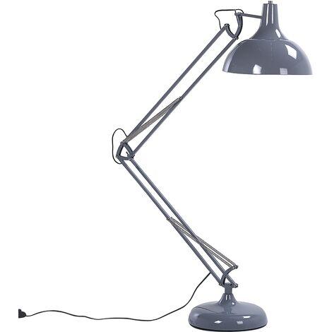 Industrial Modern Living Room Floor Standing Lamp Light Swing Arm Metal Grey Parana