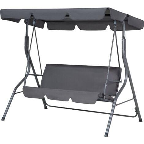 Modern Outdoor Swing Dark Grey Polyester Canopy Steel Frame Seat Pad Chaplin