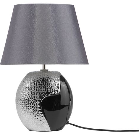 Traditional Table Lamp Bedside Light Bell Shaped Shade Ceramic Base Silver Argun