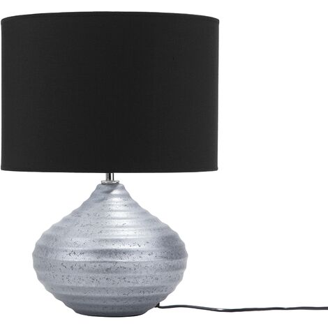 Modern Traditional Living Room Bedroom Table Lamp Ceramic Silver Black Kuban