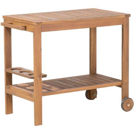 Country Outdoor Wheel Table Tea Trolley Acacia Light Wood Caserta