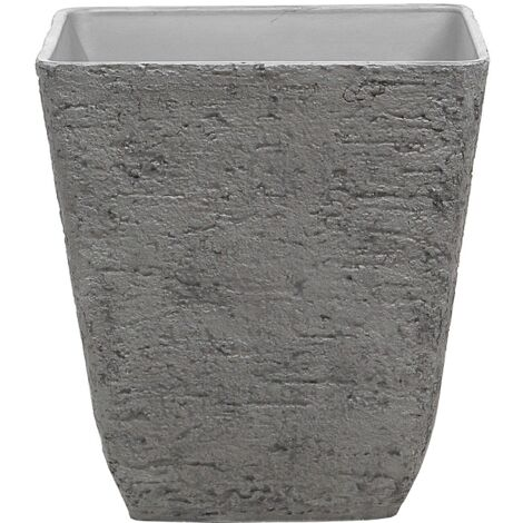 Square Outdoor Planter Pot Stone Raw 49x53 cm Grey Delos