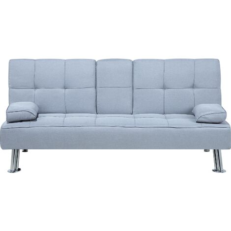 Modern Fabric Sofa Bed Click-clack Convertible Drop-down Table Light Grey Roxen