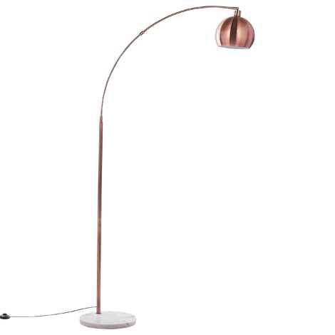 Modern Arched Floor Lamp Copper Metal Round Dome Shade Glossy Paroo