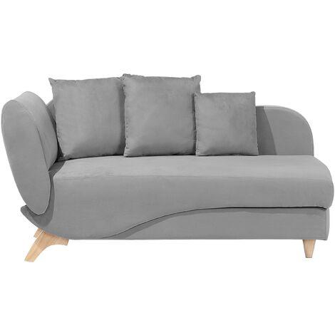 Modern Left Hand 2 Seater Chaise Lounge Storage Box Fabric Light Grey Meri