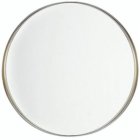 Modern Mirror Minimalistic Round Brass-Colour Frame Bathroom Entryway Decor Piney