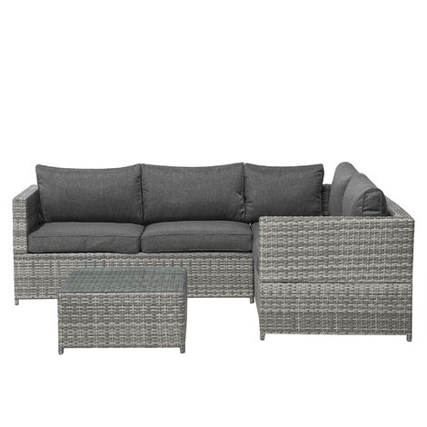 Rattan Garden Set Corner Sofa Coffee Table Glass Top Wicker Cushions Avola