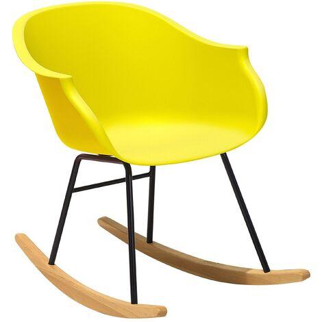 Modern Scandinavian Rocking Chair Wood Skates Shell Seat Yellow Harmony