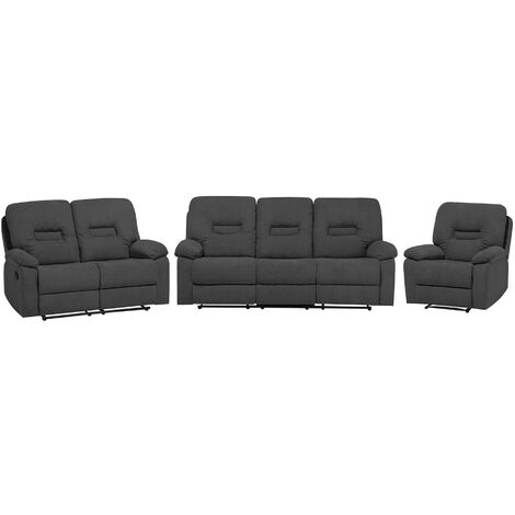 Modern Fabric Recliner Sofa Set 3 Seater 2 Seater Amrchair Grey Bergen