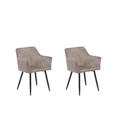 Set of 2 Velvet Dining Chair Retro Metal Legs Living Room Taupe Beige Jasmin