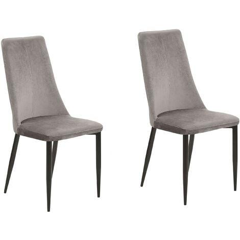 Set of 2 Velvet Dining Chairs Retro High Back Living Room Bedroom Grey Clayton