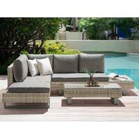 Garden Sofa Set 5 Seater Adjustable Coffee Table with Grey Cushions Lanciano