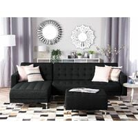 Modular Right Hand Corner L-Shaped Sofa Bed Ottoman Graphite Grey Aberdeen
