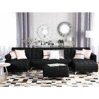 Modular U-Shaped Corner Sofa Bed 3 Seater Chaises Graphite Grey Fabric Aberdeen