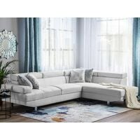 Large Sectional Upholstered Corner 5 Seater Sofa Faux Leather White Norrea
