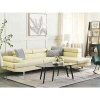 Large Sectional Upholstered Corner 5 Seater Sofa Faux Leather Beige Norrea