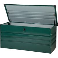 Garden Storage Box Green Steel Lockable Lid 400L Cebrosa