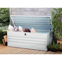 Garden Storage Box Light Grey Steel Lockable Lid 600L Cebrosa
