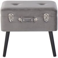 Modern Velvet Storage Stool Light Grey Fabric Suitcase Chest Buttoned Mallard