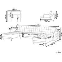 Modular U-Shaped Corner Sofa Bed 2 Chaises Grey Fabric Tufted Aberdeen