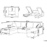 Modern Fabric Corner Sofa Bed Grey Polyester U-Shaped Storage Sleeper Convertible Sommen