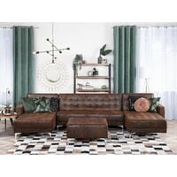 Modular U-Shaped Corner Sofa Bed 3 Seater 2 Chaises Brown Faux Leather Aberdeen