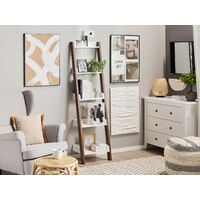 Modern Ladder Shelf 4 Tiers Leaning Bookcase Dark Wood and White Mobile Duo