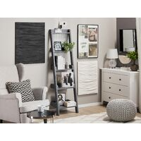 Modern Ladder Shelf 4 Tiers Leaning Bookcase Grey Mobile Duo