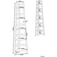 Corner Bookshelf Black and Light Wood Modern Ladder Shape 5 Tier Bexley